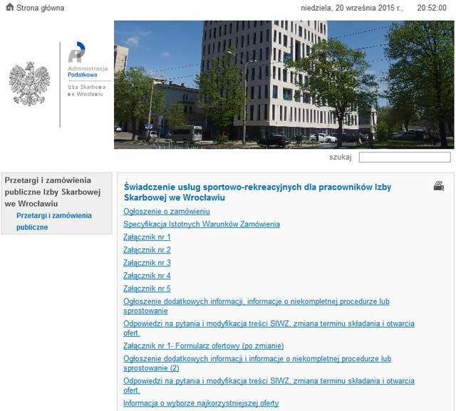Zrzut ekranu ze strony Izby Skarbowej we Wrocławiu