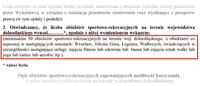 Minimalne wymagania w przetargu na karnety rekreacyjne dla urzędów skarbowych na dolnym śląsku