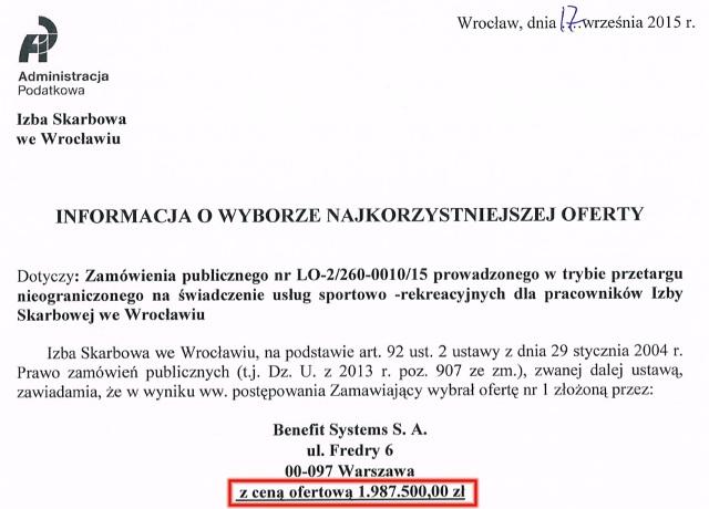 Wyniki przetargu - urząd skarbowy na dolnym śląsku